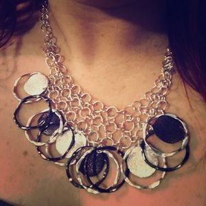 """Jewelry - 16"""" necklace silver and brown metal"""
